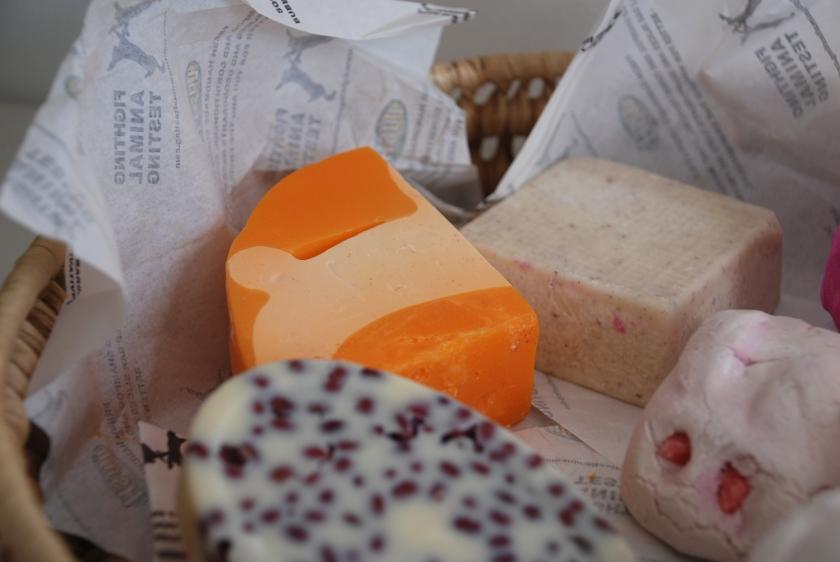 Top: Carrot Soap, Buffy Body Butter Bottom: Wiccy Magic Muscles Massage Bar